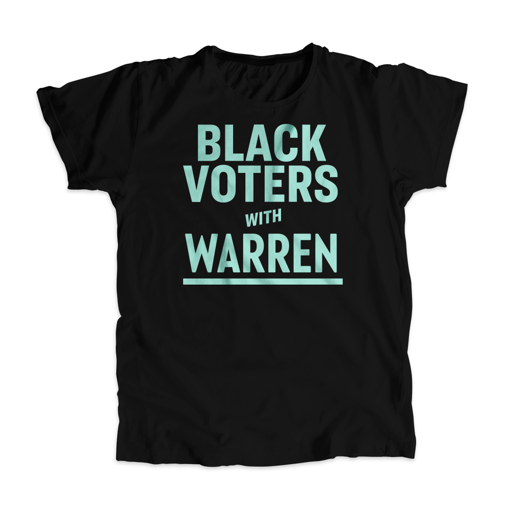 Black Voters with Warren Black Unisex T-shirt with Liberty Green type. (4455135019117)