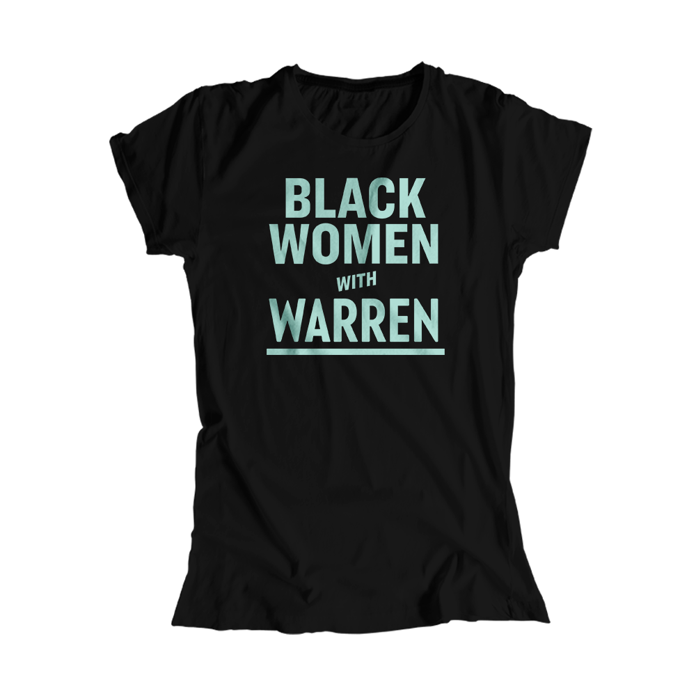 Black Women with Warren Black Fitted T-shirt with Liberty Green type. (4455162380397)