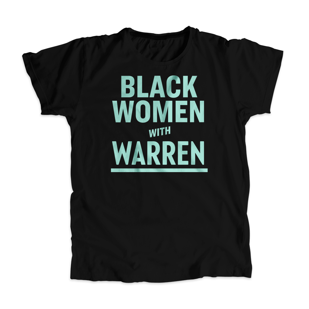 Black Women with Warren Black Unisex T-shirt with Liberty Green type. (4455135445101)