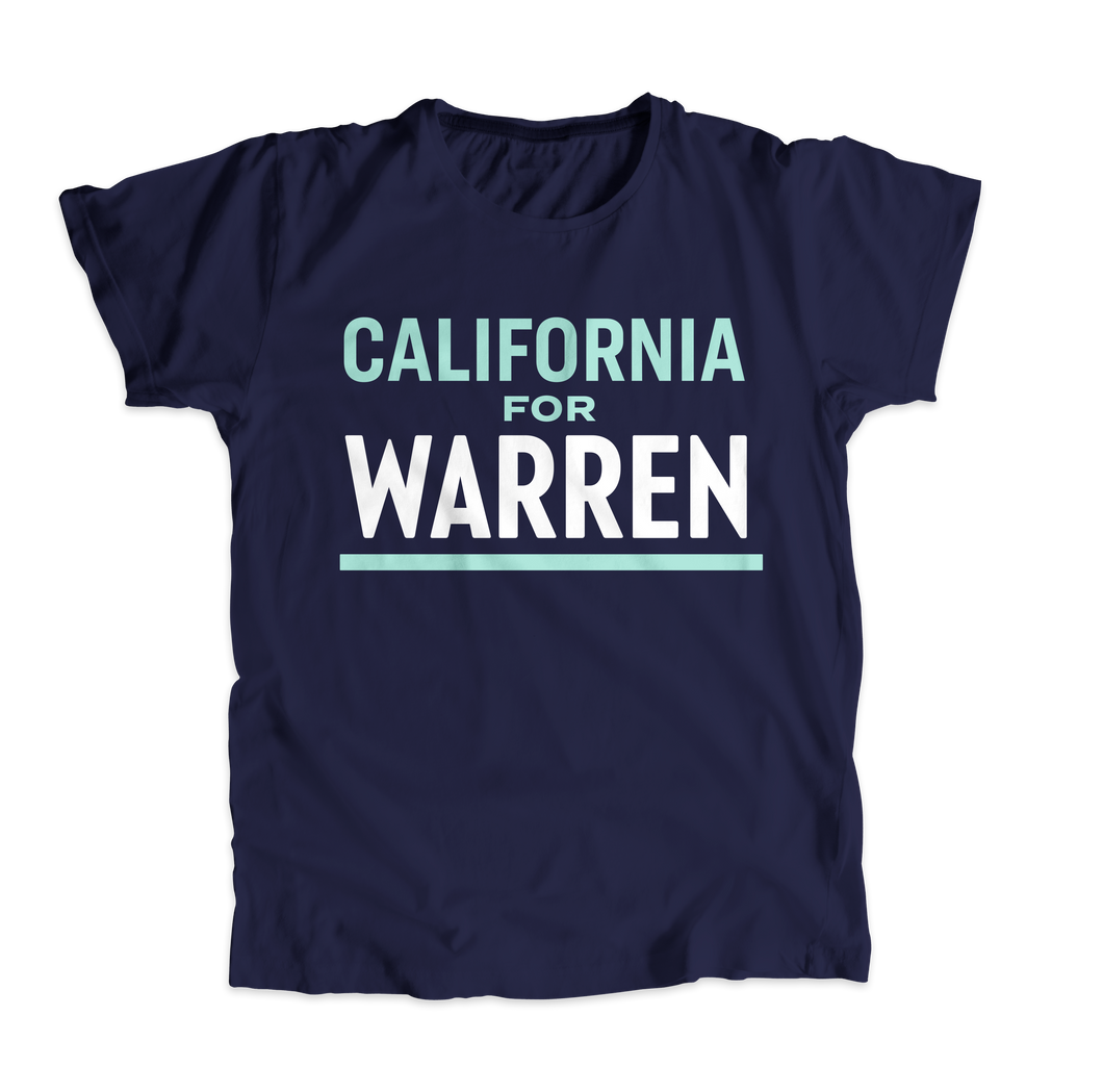 California For Warren Navy Unisex T-shirt with Liberty Green and White text. (4509914890349)