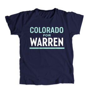 Colorado for Warren Navy Unisex T-shirt with white and liberty green text. (4509916037229)