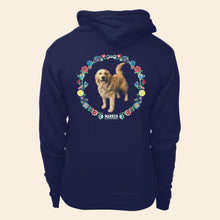 Load image into Gallery viewer, Back view of hoodie featuring Bailey cross stitch style print.  (4421406851181)