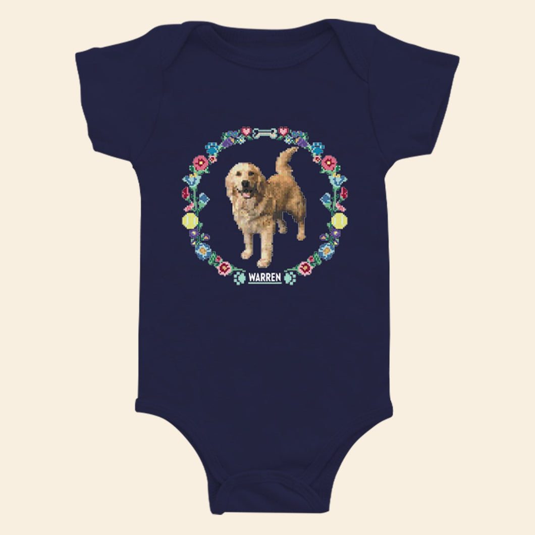 Navy onesie featuring the a cross stitch style print of Bailey. (4407619223661)