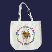 Load image into Gallery viewer, Natural canvas tote featuring a cross stitch style print of Bailey. (4407646486637)
