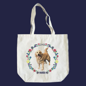Natural canvas tote featuring a cross stitch style print of Bailey. (4407646486637)