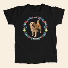 Load image into Gallery viewer, Black unisex t-shirt featuring a cross stitch style print of Bailey. (4421602279533)