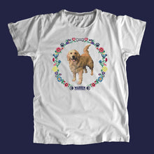 Load image into Gallery viewer, Gray unisex t-shirt featuring a cross stitch style print of Bailey. (4421602279533)