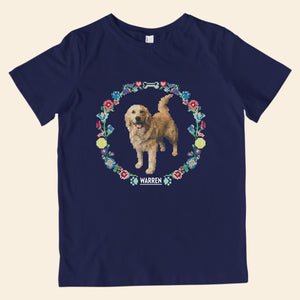 Navy youth t-shirt featuring cross stitch style prints of Bailey.