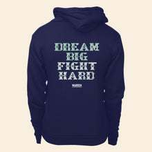 Load image into Gallery viewer, Back view of hoodie featuring a cross stitch style print of the phrase, Dream Big, Fight Hard. (4421406851181)
