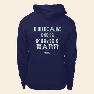 Back view of hoodie featuring a cross stitch style print of the phrase, Dream Big, Fight Hard. (4421406851181)