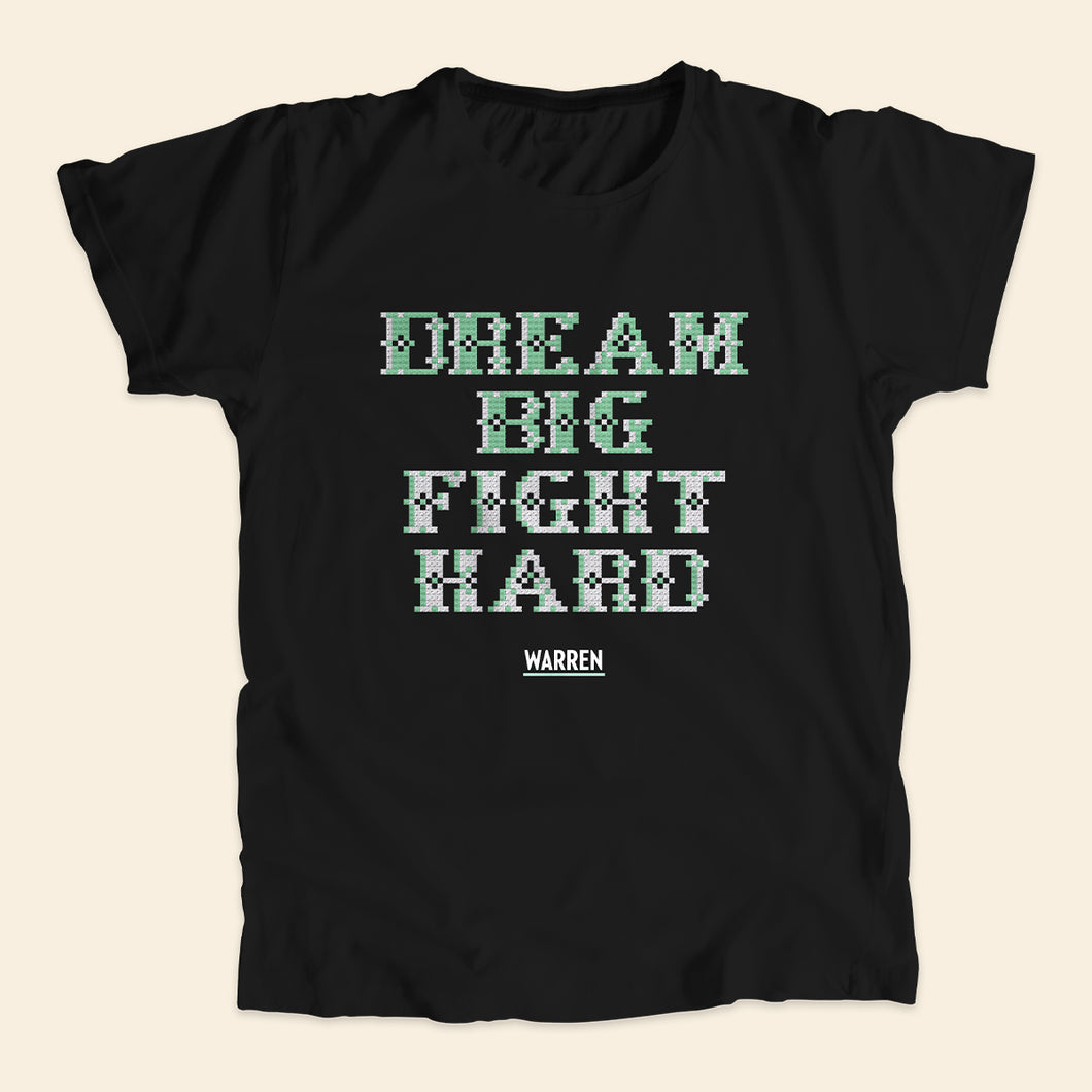 Black unisex t-shirt featuring a cross stitch style print of the phrase: Dream Big, Fight Hard.