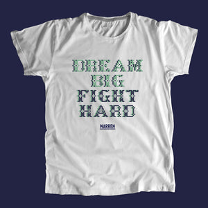 Gray unisex t-shirts featuring a cross stitch style print of the phrase: Dream Big, Fight Hard.