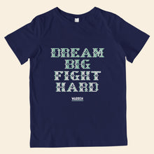 Load image into Gallery viewer, Navy youth t-shirt featuring cross stitch style print of the phrase, Dream Big, Fight Hard. (4407626924141)