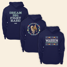 "Load image into Gallery viewer, Back view of all three Cross Stitch Print Hoodies. Featuring cross stitch style prints of Bailey, the phrase ""Dream Big, Fight Hard, and the classic Warren Logo.  (4421406851181)"