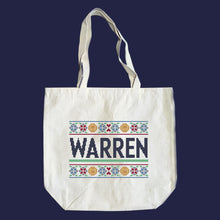 Load image into Gallery viewer, Natural canvas tote featuring a cross stitch style print of the classic Warren logo.  (4407646486637)