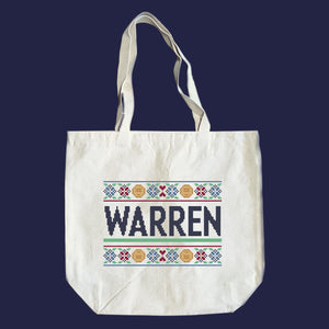 Natural canvas tote featuring a cross stitch style print of the classic Warren logo.  (4407646486637)