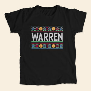 Black unisex t-shirts featuring a cross stitch style print of the classic Warren logo.  (4407582752877)