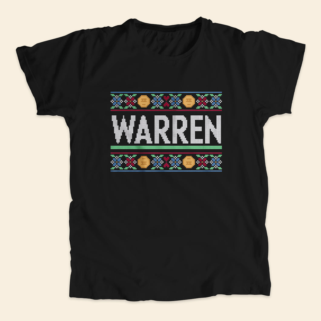 Black unisex t-shirts featuring a cross stitch style print of the classic Warren logo.