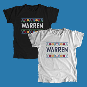 Black and gray unisex t-shirts featuring a cross stitch style print of the classic Warren logo.
