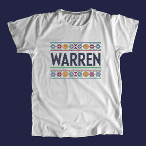 Gray unisex t-shirts featuring a cross stitch style print of the classic Warren logo.
