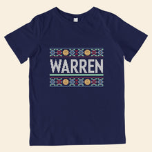 Load image into Gallery viewer, Navy youth t-shirt featuring cross stitch style print of the classic Warren logo.