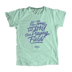 "Liberty green unisex t-shirt with ""It's Time To Level The Playing Field"" in purple."