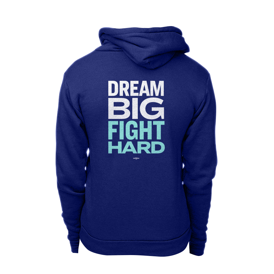 Dream Big, Fight Hard Navy hoodie with white and liberty green print. (1506799779949)
