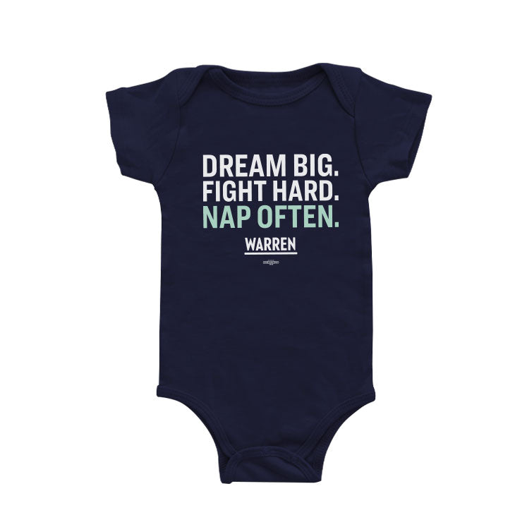 Navy onesie with the phrase: Dream Big, Fight Hard, Nap Often in white and liberty green type.