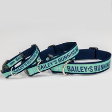 Load image into Gallery viewer, Small, medium and large sizes of the dog collars in navy and liberty green with the phrase, Bailey's Running Mate. (4166791397485)