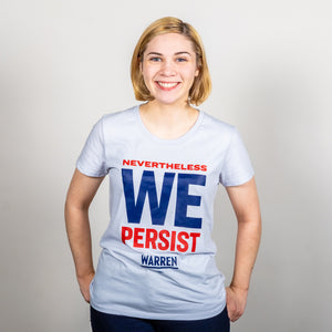 We Persist Platinum Gray Fitted T-Shirt on model. (1518922465389)