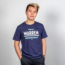 Load image into Gallery viewer, I'm a Warren Democrat Unisex T-Shirt on model.  (1678474313837)