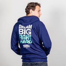 Load image into Gallery viewer, Dream Big, Fight Hard Hoodie on model.  (1506799779949)
