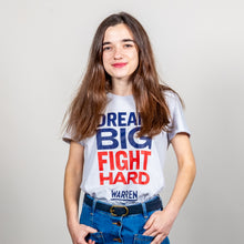 Load image into Gallery viewer, Dream Big, Fight Hard Fitted T-shirt in grey on model.  (1518922530925)