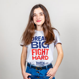 Dream Big, Fight Hard Fitted T-shirt in grey on model.  (1518922530925)