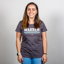 Load image into Gallery viewer, Warren Minimalist Fitted T-shirt in asphalt and green on model. (1519811592301)