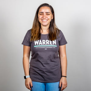 Warren Minimalist Fitted T-shirt in asphalt and green on model.