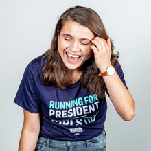 Load image into Gallery viewer, Running for President, That's What Girls Do Unisex T-Shirt on model. (4170130456685)