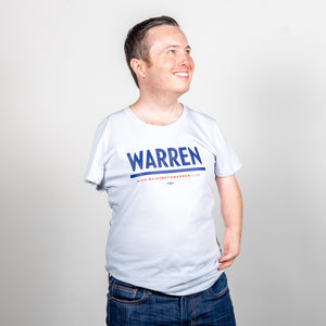 Warren Fitted T-Shirt in Gray on model.