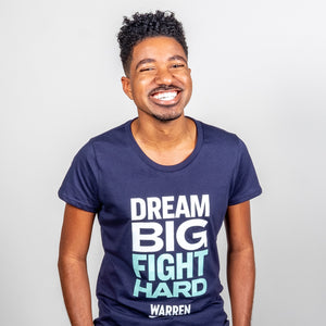 Dream Big, Fight Hard Fitted T-shirt in navy and green on model.  (1518922530925)