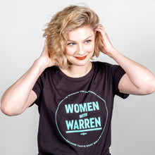Load image into Gallery viewer, Women with Warren Fitted T-Shirt on Model.