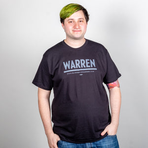 Warren Minimalist Unisex Black T-shirt with Black font on model.