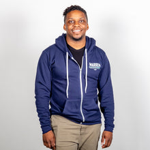 Load image into Gallery viewer, We Persist Hoodie in Navy front view on model.