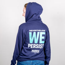 Load image into Gallery viewer, We Persist Navy Hoodie Back View with hood up on model.