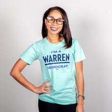 Load image into Gallery viewer, Liberty Green, I'm A Warren Democrat, Unisex T-Shirt with Navy text on Model.  (4052815904877)