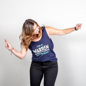I'm A Warren Democrat Unisex Navy Tank with Liberty Green and White Text on dancing model.  (1678478377069)
