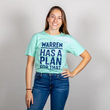 Load image into Gallery viewer, Liberty Green Warren Has A Plan For That Unisex T-Shirt  tucked in on model with hand on her hip. (4052827177069)