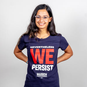 We Persist Navy Fitted T-Shirt with Red and White text on model. (1518922465389)