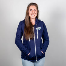 Load image into Gallery viewer, Win With Warren Navy Hoodie front view zipped up on model.