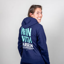 Load image into Gallery viewer, Win With Warren Navy Hoodie back view on model.