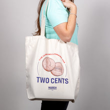 "Load image into Gallery viewer, ""Two Cents"" Tote on shoulder of standing model."